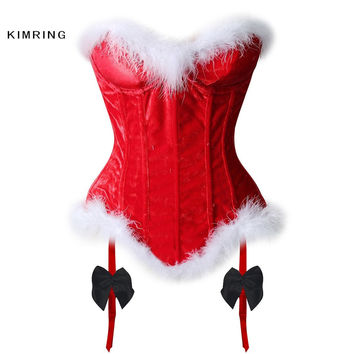KIMRING SEXY WOMEN'S CHRISTMAS CORSET VELVET SHAPER CORSETS BUSTIERS LINGERIE OVERBUST CORSETS AND BUSTIERS CORSELET SANTA CLAUS