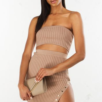 Ribbed Midi Skirt in Tan and Black