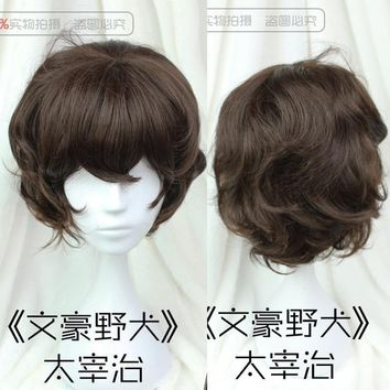 Anime Bungo Stray Dogs Dazai Osamu Wig Heat Resistant Short Brown Curly Hair Cosplay Costume Wigs + Track No. + Wig Cap