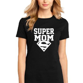 Hipster Women T Shirt Super Mom T-shirt Fashion Graphic Tee Shirt Femme Funny Text Tshirt Female 2018 New Summer Tops