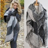 Stitching Plaid Scarf Women Winter Scarf Elegant Warm Cape Poncho Fashion Pashmina Shawls S2