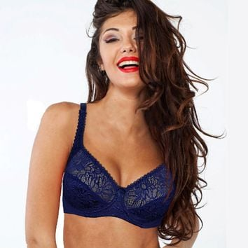 Plus size Bra women Lace Perspective Bralette Sexy Lingerie Underwire Embroidery Floral Bras Top Luxury Gift BH B C D DD E F Cup