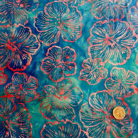 Bermuda Hibiscus Batik, Robert Kaufman, Flower Batik,Batik Fabric,Cotton Fabric,Fabric by the Yard or Half Yard, Quilt Fabric,Hibiscus Batik