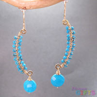 "Wired sticks wrapped with sleeping beauty turquoise, 1-1/2"" Earring Gold Or Silver"