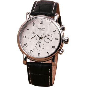 2017 WINNER Causal Couple's Auto Mechanical Watch Concise Design Men Women Wristwatch Leather Strap Working Sub-dials Lover Gift