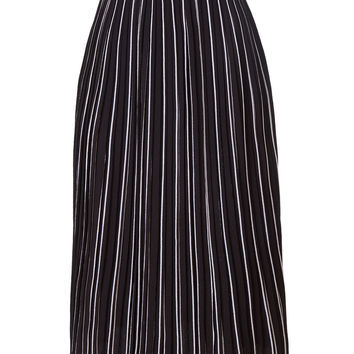 LE3NO Womens Chiffon Striped Pleated Midi Skirt with Elastic Waistband