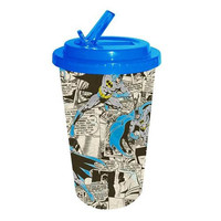 Batman Comic Book Pages Plastic Flip Straw Cold Cup