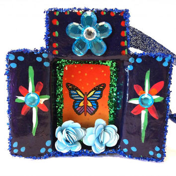 La Mariposa Loteria Ornament / Assemblage / Collage / Paper Mache