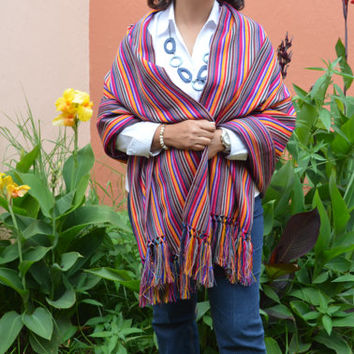 Mexican Shawl Scarf Rebozo, Folk Fabric Table Runner, Baby sling carrier.