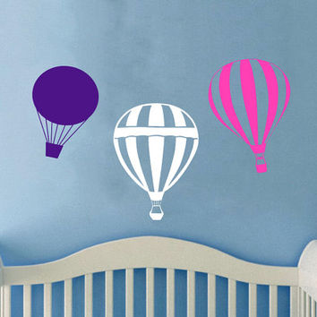 Housewares Hot air Balloons Wall Vinyl Decal Sticker Kids Nursery Baby Room Decor V281