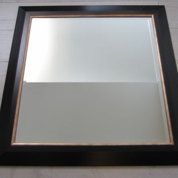 Contemporary Black Beveled Mirror Gilt Boarder Wall Decor