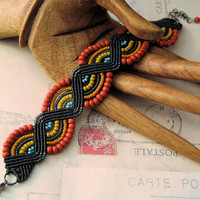 Waves of Color Beaded Micromacrame Bracelet Desert Patterns