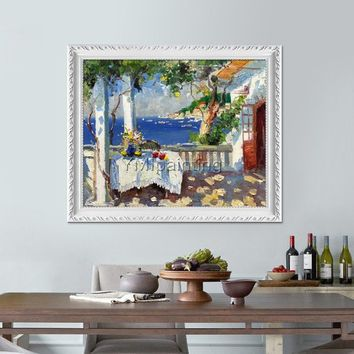 Original Oil Painting Mediterranean landscape painting Venice Painting Venice italy art Canvas Painting Wall art pictures for home caudros