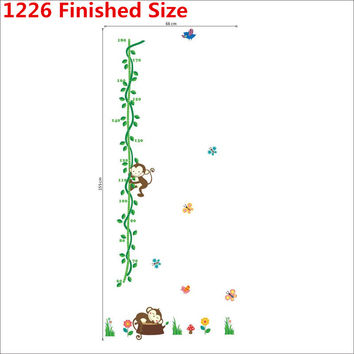 Cartoon Sleeping Monkeys Height Measure Wall Stickers For Kids Rooms Tree Birds Flower butterfly Height chart Nursery Home Decor SM6