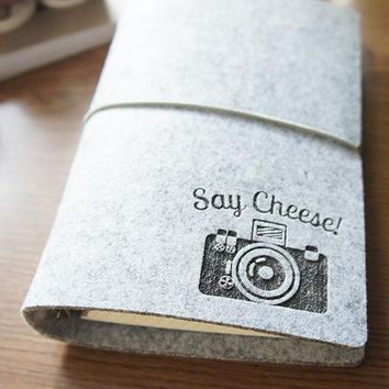 Camera Wool Felt Notepad Travel Journal Book Diary Gift