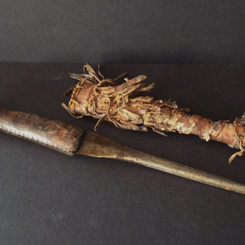 AFRICAN dagger , with fringe sheath.  Hand made, tribally used,ethnographic, African art. tribal, Ethiopian. Antique