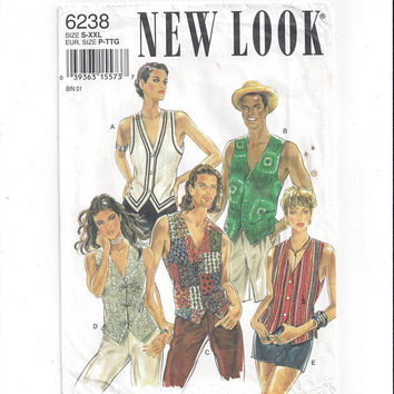 New Look 6238 Pattern for Unisex Vest, Sizes S to XXL, by Simplicity, From 1994, FACTORY FOLDED, UnCut, Vintage Pattern, Home Sewing Pattern