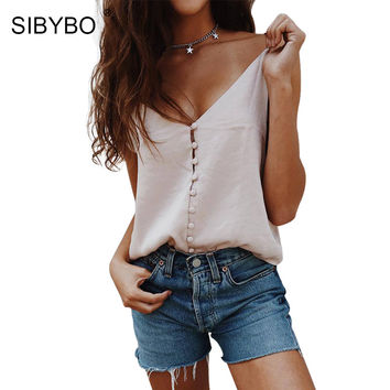 Sibybo Satin Slip Camisole Crop Top Women 2017 New Summer Loose Style Tank Top Sexy Button Camis Casual Cropped Blusa Tops