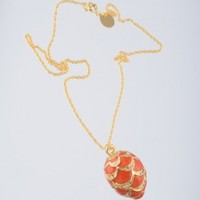 Gold & Red Egg Pendant Necklace