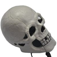 White Scary Cool Skull Skeleton Shaped Telephone Land Fixed Line Desk Wired Corded Phone with Blue Led Flashing Eyes Punk Gothic Creative Funny Home Office Decoration Gifts