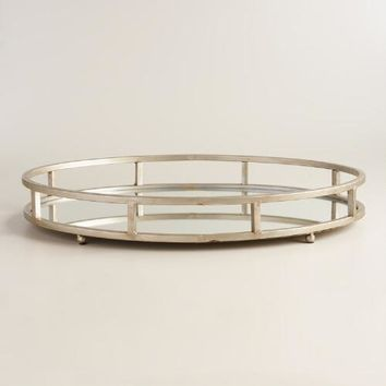 Silver Mirrored Round Serving Tray