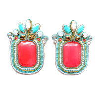 SUMMER NIGHTS oversized soutache earrings in neon pink, white and turquoise. Free shipping!