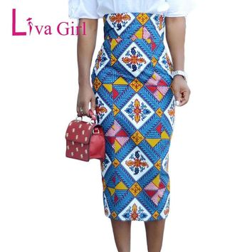 Liva Girl African Print Bodycon Pencil Skirt Summer Women High Waist Midi Skirts Office Vintage Elegant Faldas Saia Femininas