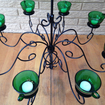 Beautiful Handmade Chandelier Hanging Candle Lamp Candelabra Depression Glass Punch Cups Wrought Iron Repurposed Upcycled Recycled Light