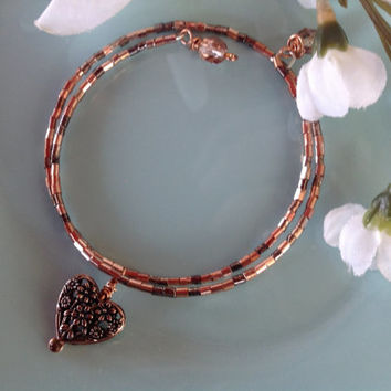 Bangle bracelet, copper jewelry, seed bead bracelet, charm bracelet, trendy jewelry, memory wire bracelet, handcrafted