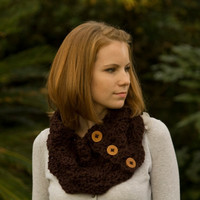 Wood Button Crochet Cowl, Neck Warmer, Chocolate Brown