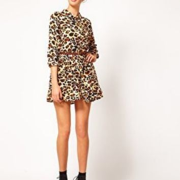 River Island Chelsea Girl Leopard Shirt Dress at asos.com