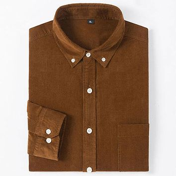 2019 High-end Pure Cotton Men's Corduroy Shirts Button-down Neck Long Sleeved Fashion Soft Material Solid Men Casual Shirt