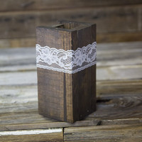 Dark Rustic Wood Vase with Lace