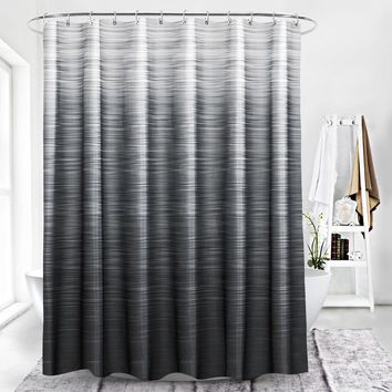 72 x 78 inch Moldproof Polyester Fabric Shower Curtain Liner Gray White Striped Waterproof Bath Curtain with Plastic Hooks