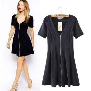 Stylish Sexy V-neck Short Sleeve Zippers Slim Women's Fashion One Piece Dress [5013228164]