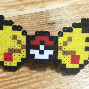 Pokemon Pikatchu Perler Hair Bow (w/ clip): hair accessory, perler beads, anime, EDC, rave, kandi