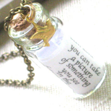 Encourage  A Tiny Glass Bottle Necklace with Little by InGodsHands