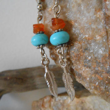 ON SALE Turquoise and Carnelian Earrings, Handmade, Gemstone Jewelry, Native American Inspired, Southwestern, Hippie, Boho