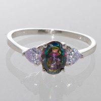 Mystic Topaz Ring Sterling Silver Cubic Zirconia Oval Three Stone Ring