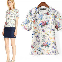 White Floral Print Short-Sleeve Shirt