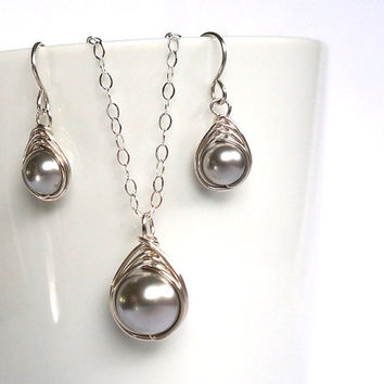 Grey Swarovski Pearl Jewelry Set, Earring Necklace Set, Herringbone Sterling Silver Set, Christmas Gift Her, Wire Wrapped Handmade Jewelry