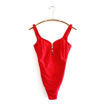 90's Red One Piece Swimsuit