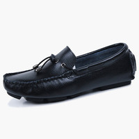 Slip-On Tassels Square Toe Cowhide Loafer Shoes