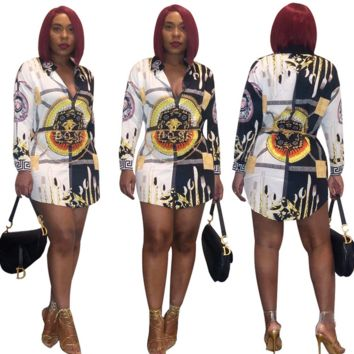 VERSACE Floral Shirt Dress J1790
