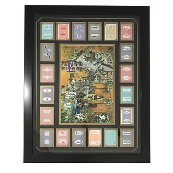 Vegas Throwback Cartoon Map W/ 20 Authentic Playing Cards Collage Framed #D/100 Vintage