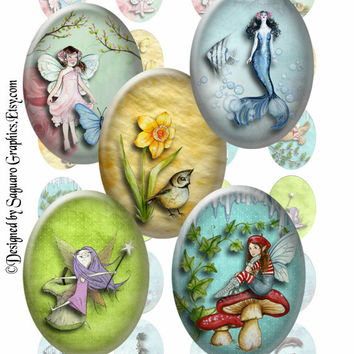 PEACEFUL FANTASY - 30x40mm - Printable Digital Artwork for Pendants, Cabochons, Stickers, Journals, Scrapbooks, Arts & Crafts