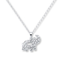 Elephant Necklace Diamond Accents Sterling Silver