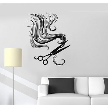 Vinyl Wall Decal Hair Scissors Barber Tools Beauty Salon Stickers Unique Gift (ig3339)