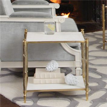 Global Views Arbor Brass & White Marble Side Table