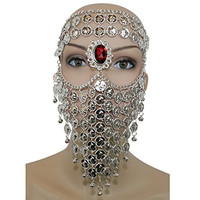 Silver Red Gem Belly Dance Costume Headwear Coins Face Mask Veil Tribal Bedouin Burka Burqa